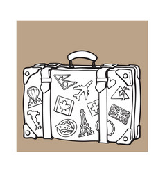 Hand drawn retro style travel suitcase with labels vector