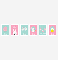 Happy easter greeting card set line hanging vector