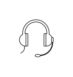 headphones with microphone icon vector image