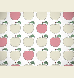 Horizontal card pattern with cartoon apples vector