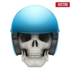 Human skull with motor biker helmet vector