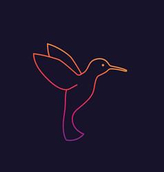 hummingbird colibri logo linear style vector image