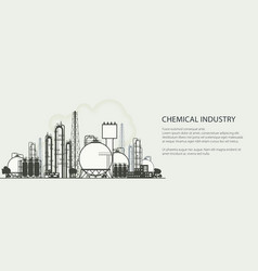 Industrial chemical plant banner vector