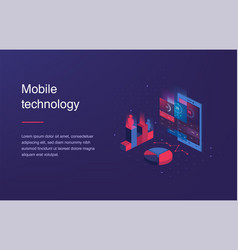 isometric mobile phone smart and simple web vector image