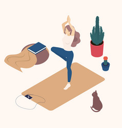 isometric young women their free time doing yoga vector image