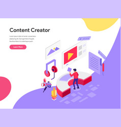 landing page template content creator concept vector image