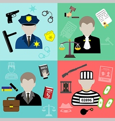 Law and justice flat style icons vector