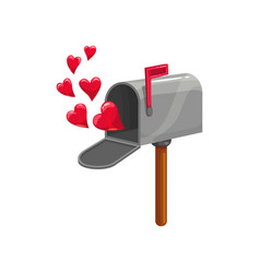 Mail box red flag and hearts vector