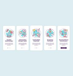 Media literacy elements onboarding mobile app vector