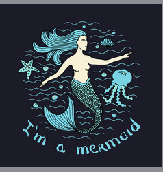Mermaid hand drawn vector