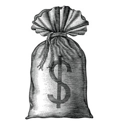 money bag hand draw vintage engraving isolated on vector image