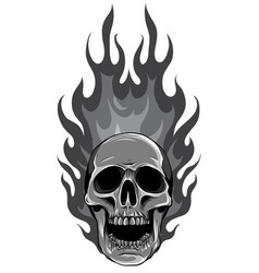 Monochromatic skull on fire with flames vector