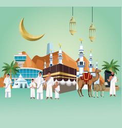 Muslims persons in hajj mabrur travel celebration vector