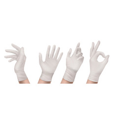 Nitrile gloves on hand front or side isolated set vector
