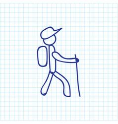 Of trip symbol on walking man vector