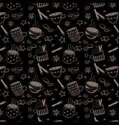 pattern of doodles coffee set vector image vector image