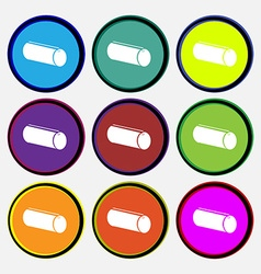 Pencil case icon sign Nine multi colored round vector