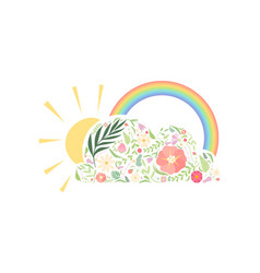 rainbow sun and cloud made floral seamless vector image