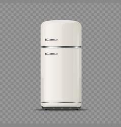 realistic detailed 3d vintage white fridge vector image