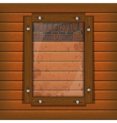 restaurant menu wooden frame and glass vertically vector image