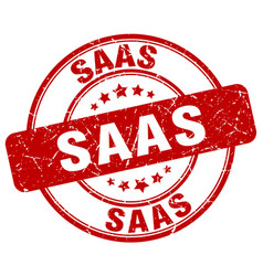 Saas red grunge stamp vector