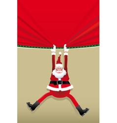 Santa Claus hanging from a poster vector