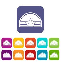 Semicircular tent icons set flat vector