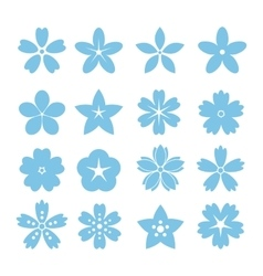 Set of flat icon flower icons vector image