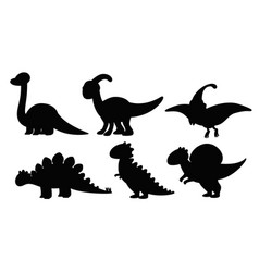 Set of silhouette dinosaur vector