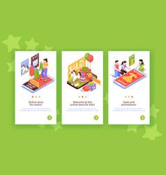 Shopping kids vertical banners vector