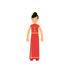 smiling woman dressed up in long red dress vector image