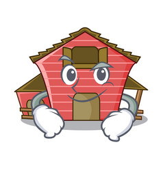 Smirking a red barn house character cartoon vector