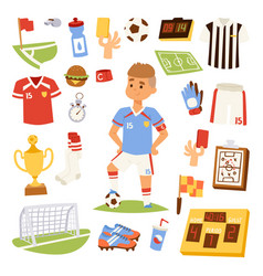 Soccer player man icons vector