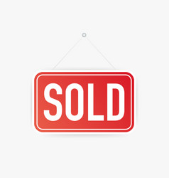 sold hanging sign on white background sign for vector image