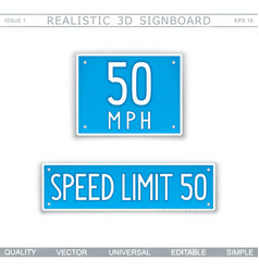 Speed limit 50 miles traffic sign vector