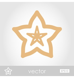 Starfruit Carambola Carom icon Tropical fruit vector