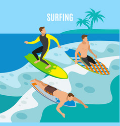 surfing isometric background vector image