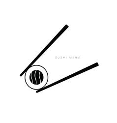 sushi menu icon in black vector image
