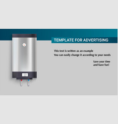 Template with tank for water heating vector