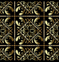 textured tapestry floral gold paisley seamless vector image