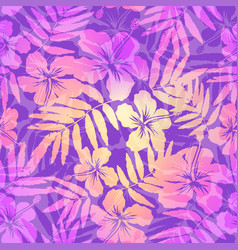 violet and pink tropic flowers seamless pattern vector image