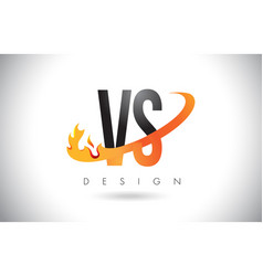 Vs v s letter logo with fire flames design and vector