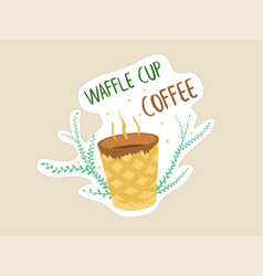 waffle cup coffee image with sign vector image