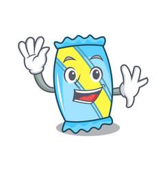 Waving candy character cartoon style vector
