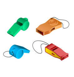 whistle icon set isometric style vector image