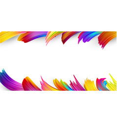 white background with colorful abstract brush vector image