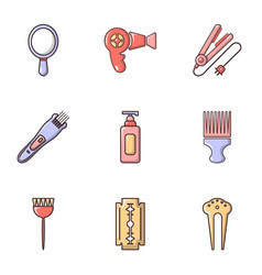 Woman hairdresser tools icons set flat style vector