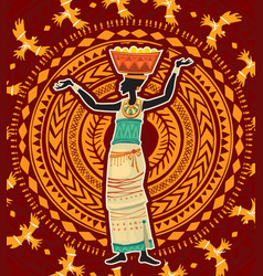 Woman in ethnic dress on tribal ornament vector