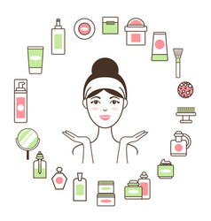 woman in headband inside circle of cosmetic means vector image