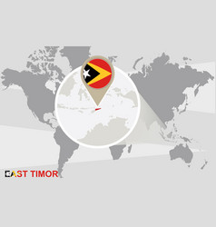 World map with magnified east timor vector